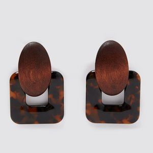 ZARA Brown Wood + Tortoise Statement Earrings
